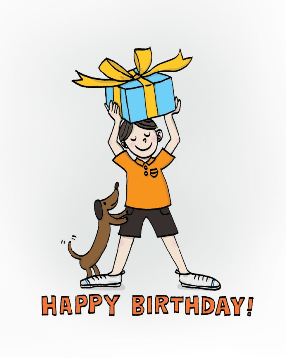 an illustration of a boy holding a gift box, and his puppy.