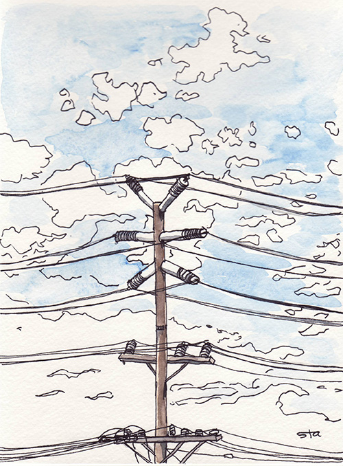 I like the power pole I can see from my window.